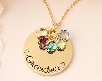 Personalized Grandma Necklace - Gift for Grandmothers - Grandma Birthstone Necklace - Mothers Day Jewelry - Mothers Day Present for Grandma