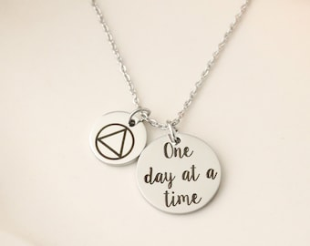 AA Recovery Necklace - addiction recovery necklace - alcohol recovery jewelry - AA recovery jewelry - AA symbol jewelry - one day at a time