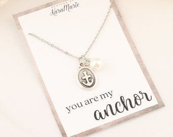 You Are My Achor Necklace & Quote Card - Anchor Necklace - Anchor Bracelet - Best Friend Gift - Support Gift - Gift for Best Friend