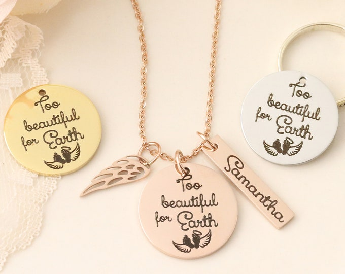 Too Beautiful For Earth Necklace - Loss of Child Gift - Baby Memorial Necklace - Memorial Gift - Gift for Memorial - Sympathy Gift