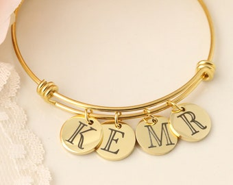 Personalized Initial Bangle - Personalized Charm Bangle - Mothers Day Jewelry - Mothers Bracelet - Initial Jewelry - Initial Bracelet
