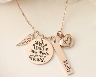 Rose Gold Pet Memorial Necklace - Pet Urn Necklace - Pets Leave Pawprints on Our Hearts - Dog Urn Necklace - Dog Memorial Necklace -