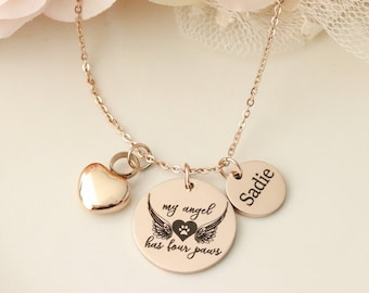 Pet Memorial Necklace - Pet Urn Necklace - My Angel Has Paws Necklace -  Dog Urn Necklace - Dog Memorial Necklace - Cat Urn Necklace