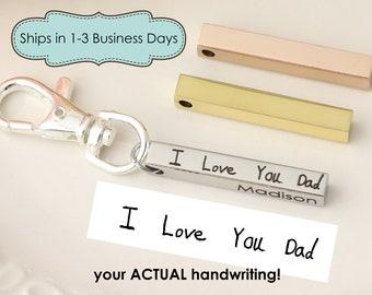 Actual Handwriting Keychain - 4 sided Bar Keychain - 3-d Keychain - Handwriting Jewelry - Handwriting Gift For Dad - Keychain for Dad