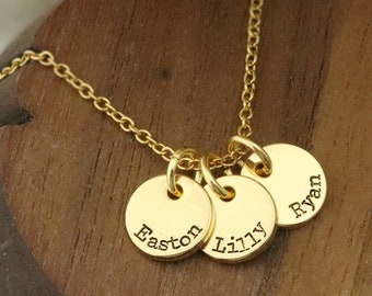 Gold Disc Necklace - Tiny Gold Disc Necklace - Silver Disc Necklace - Rose Gold Disc Necklace - Mothers Necklace - Tiny Name Necklace