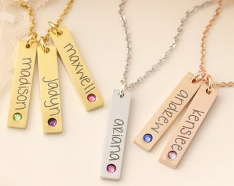 Personalized Birthstone Bar Necklace - Vertical Bar Necklace - Name & Birthstone Necklace - Personalized Bar Necklace - Bar Necklace for Mom