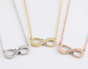 Personalized Infinity Necklace - Couples Jewelry - Anniversary Gift - Gift For Her - Birthstone Necklace - Infinity Birthstone Necklace
