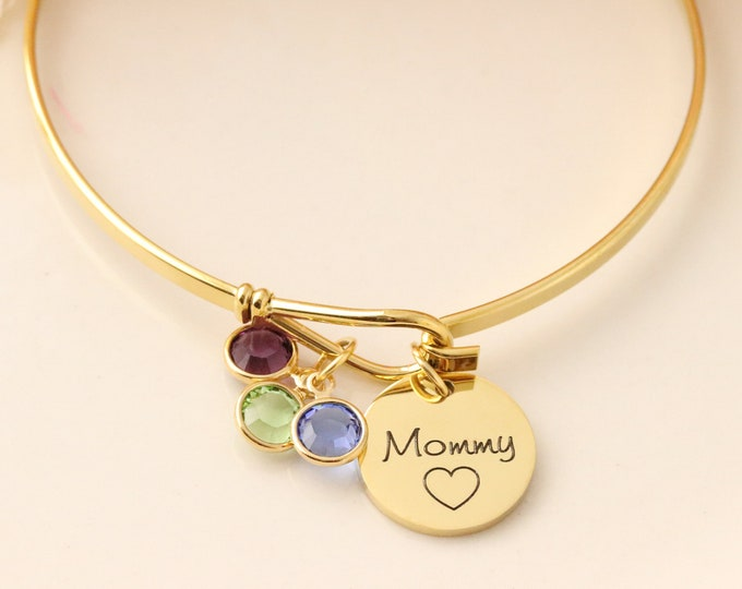 Birthstone Bangle - Mommy Bracelet - Bracelet with Birthstones for Mom - Birthstone Bracelet - Mommy Jewelry - Gold Mom Bracelet