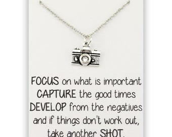 Camera Necklace - Photographer Jewelry - Life is Like a Camera - Camera quote necklace - Gift for photographer - Photographer necklace