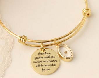 Mustard Seed Bracelet - Inspirational Christian Gift - Matthew 17:20 Necklace - Faith as small as a mustard seed - Mustard Seed Charm