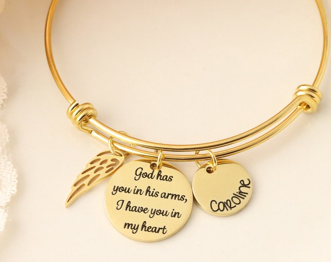 God has you in his arms, i have you in my heart necklace - memorial gift - loss of loved one gift - gift for memorial - memorial jewelry