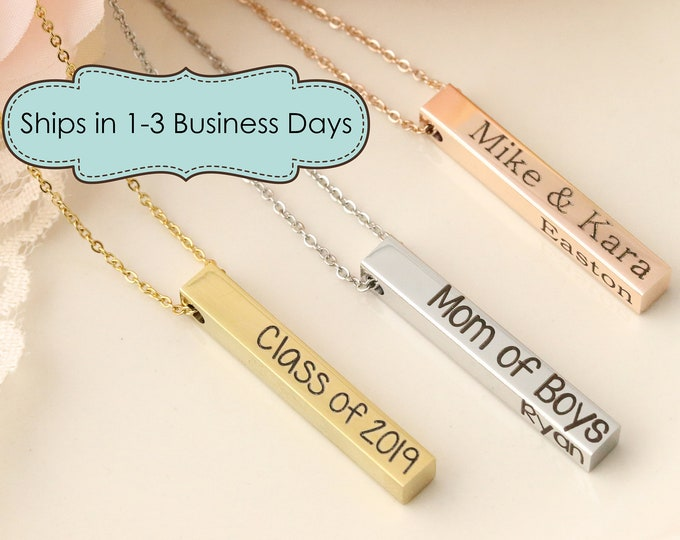4 Sided Bar Necklace - Personalized Bar Necklace - 4 Sided Necklace - Personalized four sided necklace - personalized jewelry - 3d necklace
