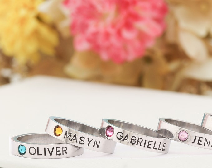 Mothers Birthstone Ring - Hand Stamped Ring, Personalized ring, Stacking mothers rings, stamped name ring - Name Birthstone Ring
