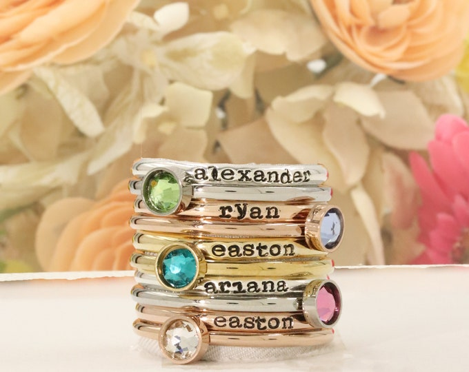Personalized Mothers Ring - Hand Stamped Ring, Personalized ring, Stacking mothers rings, stamped name ring - stacking birthstone rings
