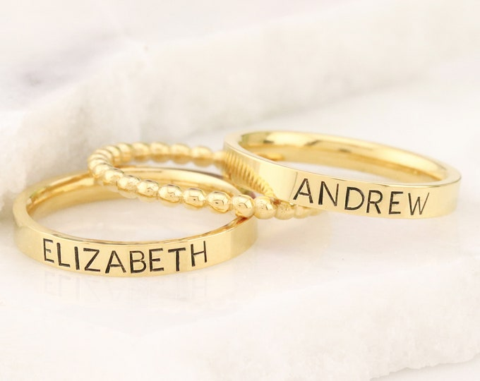 Gold Personalized Ring - Mothers Rings - Hand Stamped Ring - Sterling Silver personalized ring - Stacking Ring - Name Ring - Engraved Ring