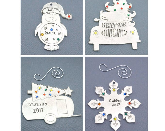 Personalized Christmas Ornaments - 8 Styles - Pewter Christmas Ornaments - Family Christmas Ornaments - Baby's First Christmas Ornament