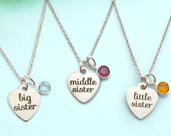 Sisters Necklaces Set - Big Sister Necklace - Middle Sister Necklace - Little Sister Necklace -  Sisters Bracelet - Gift for Sisters