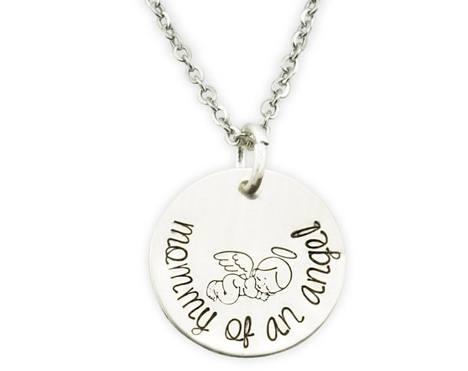 Sterling Silver Mommy of an Angel Necklace - baby angel memorial, baby memorial gift, gift for loss of child - miscarriage gift - baby angel