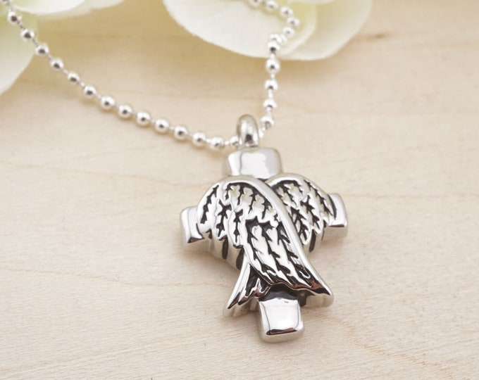 Urn Pendant - Memorial Pendant - Urn Necklace - Urn Jewelry - Cremation Jewelry - Urn memorial - Cross Urn Pendant - Angel Wing Urn