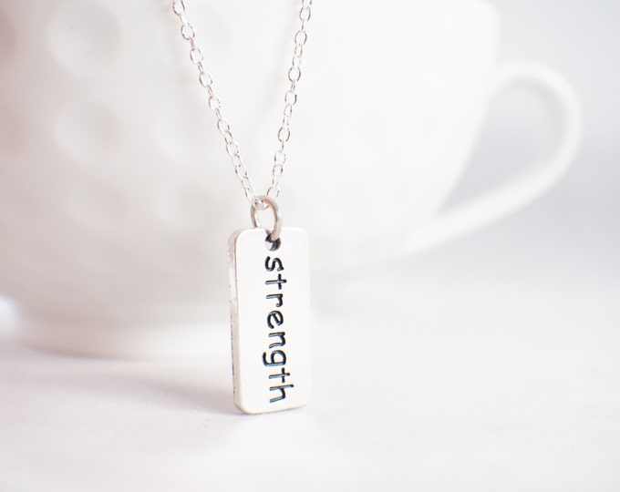 Strength Necklace - Strength Pendant - Tag necklace - Fitness Gift - Fitness necklace