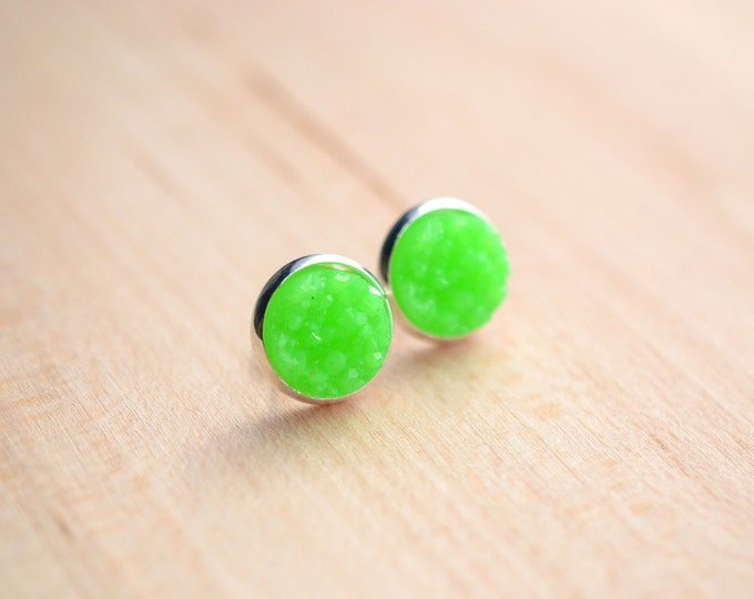 Green Druzy Earrings - Neon Green Druzy Earrings - Neon Druzy Earrings - Post earrings - Bright Green Druzy - Sparkle earrings  Post Druzy