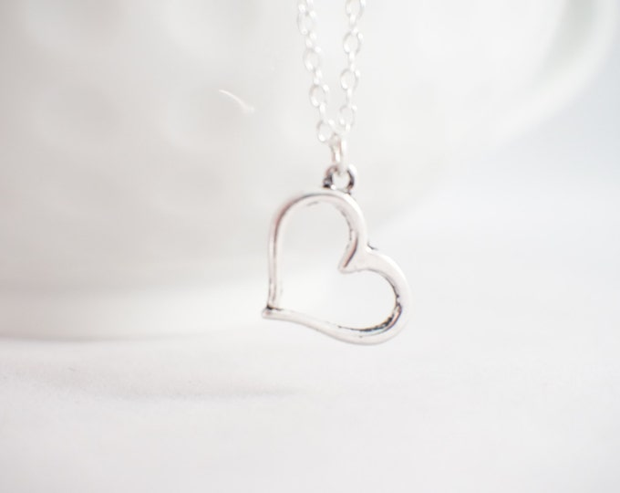 Heart Necklace - Tiny heart necklace - Heart jewelry - Sterling Silver Heart - Heart pendant - GIft for her!