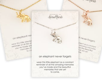 Elephant Necklace - An elephant Never forgets necklace - Rose Gold Elephant Necklace - Silver Elephant necklace - Elephant bangle -