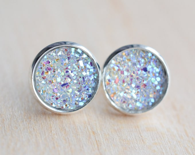 Diamond Druzy Earrings - Clear Druzy Earrings - Crystal Druzy Earrings - Druzy Post Earrings - Bridesmaids Gifts - Crystal Earrings