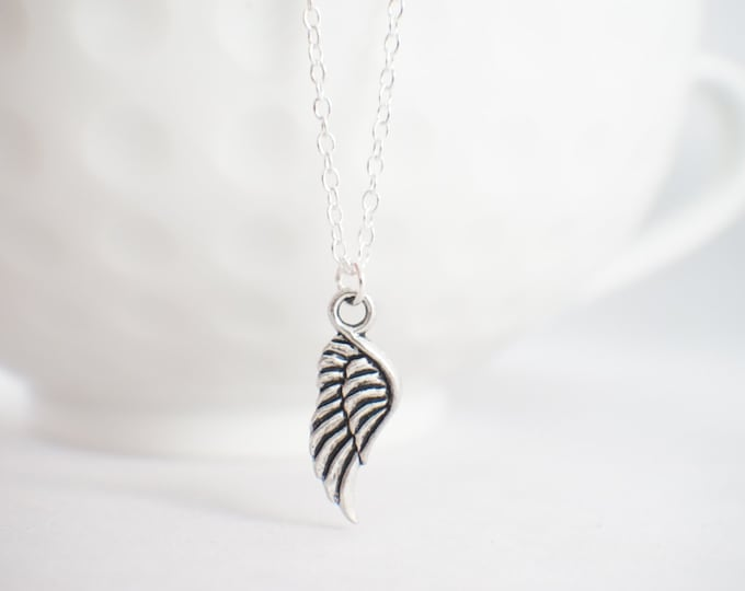 Angel wing necklace - memorial necklace - memorial charm - tiny wing necklace - tiny angel wing necklace - Angel wing jewelry
