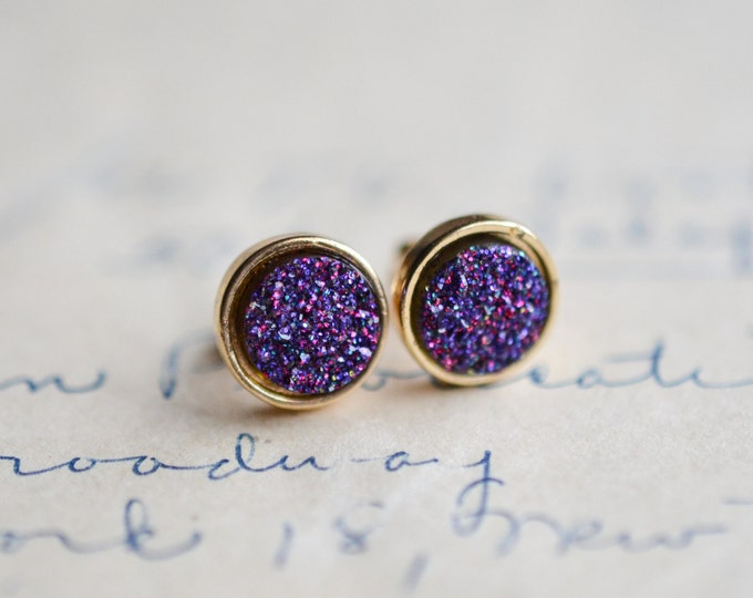 Purple Druzy Earrings - Magenta Druzy Earrings - Pink Druzy Earrings - Gold druzy - Pink druzy - spring earrings - purple earrings