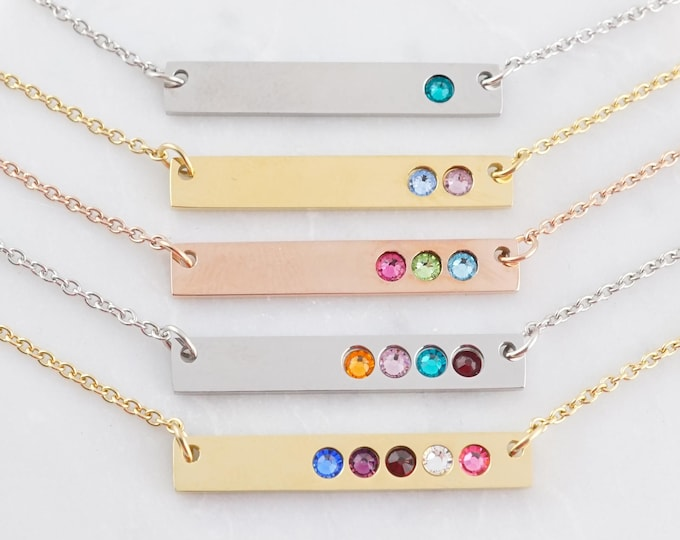 Featured listing image: Birthstone Bar Necklace - Birthstone Necklace for Mom - Necklace with Birthstones - Personalized Gifts For Mom - Gold Bar Necklace
