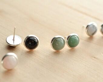 Natural Stone Earrings - 8mm earrings - Stone earrings - Rose quartz earrings - moonstone earrings - tigers eye earrings - lapis earrings