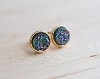 Rainbow Druzy Earrings - Galactic Druzy Earrings - Multicolor Druzy Earrings - Gunmetal druzy earrings, Galactic earrings - trendy earrings