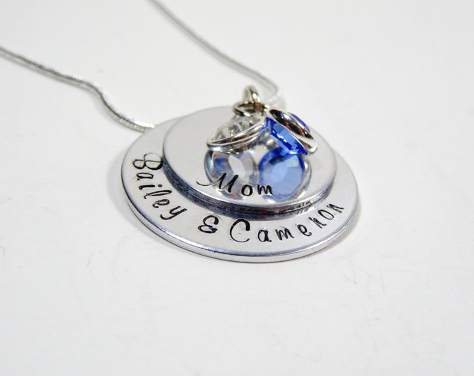 Hand stamped mothers necklace with childrens names and swarovski birthstones! Layered mothers necklace! Mothers gift!