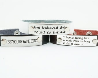 SALE!!! Inspirational cuff bracelet! Leather curf bracelet! Inspirational jewelry - quote jewelry