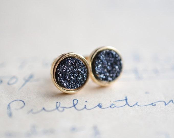 Charcoal Druzy Earrings - Gray Druzy Earrings - Silver Druzy Earrings - Gunmetal druzy earrings, Galactic earrings, - trendy earrings