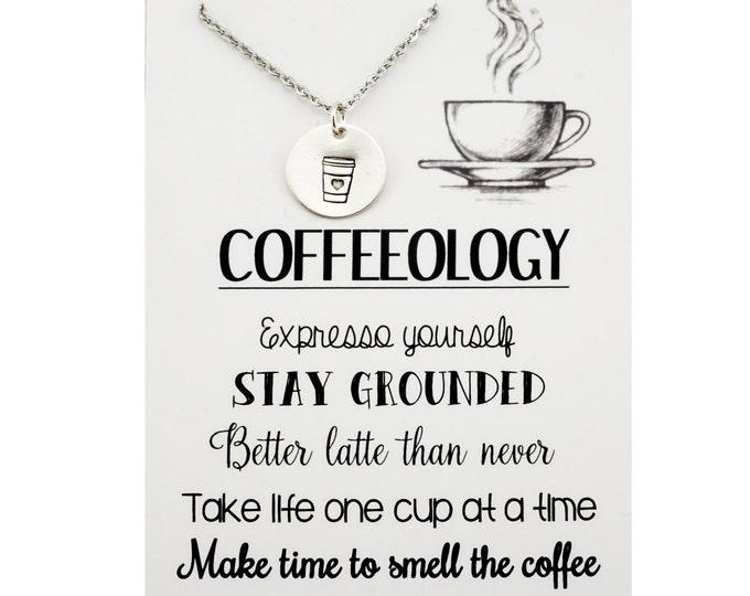 Coffeeology Necklace - Coffee lovers jewelry - gift for coffee lover - coffee addict - java junkie - coffee jewelry - Jesus & coffee -