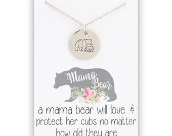 Mama Bear Pendant Necklace - Mama Bear jewelry - Mother Bear jewelry - momma bear pendant - momma bear necklace - momma bear jewelry