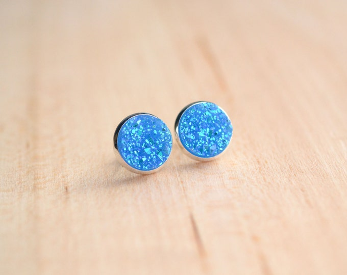 Bright Blue Druzy Earrings - Blue Druzy Earrings - Sky Blue Druzy Earrings - Post earrings - Aqua Druzy studs - Sparkle earrings  Post Druzy