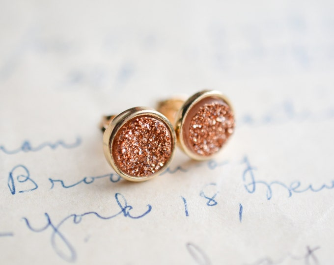 Rose Gold Druzy Earrings - Gold Druzy Earrings - Brown Druzy Earrings - Taupe druzy earrings, Galactic earrings, - trendy earrings