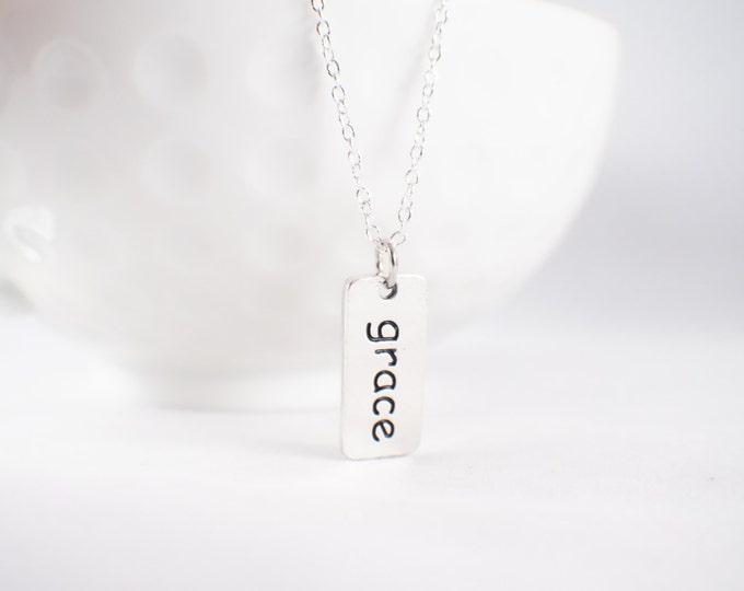 Grace Necklace - Grace Pendant - Tag necklace