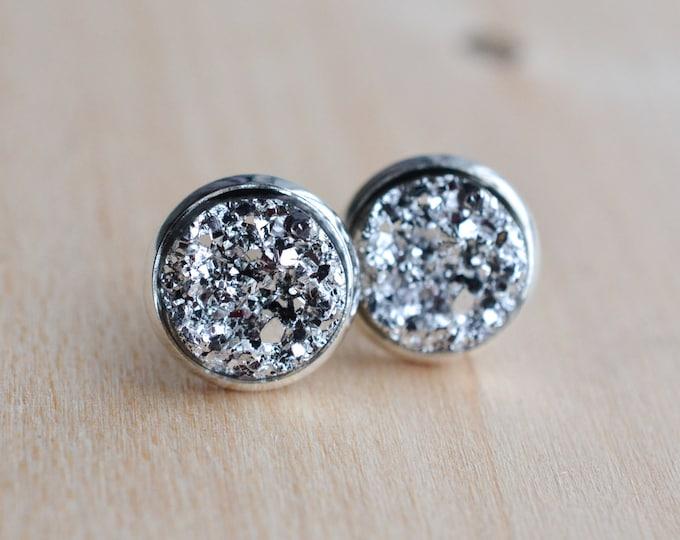 Silver Druzy Earrings - Gray Druzy Earrings - Grey Druzy Earrings - Gunmetal Druzy Earrings - Charcoal druzy earrings - Druzy Post Earrings