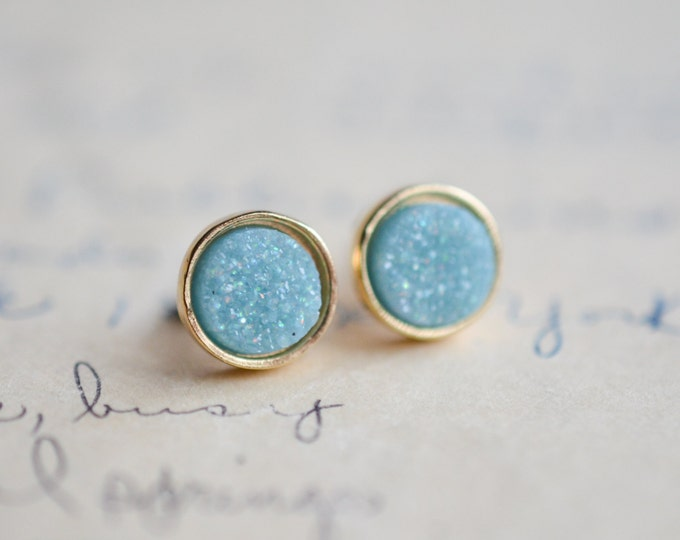 Light Blue Druzy Earrings - Blue Druzy Earrings - Baby Blue Druzy Earrings - Gold druzy - Sky Blue druzy - spring earrings - purple earrings
