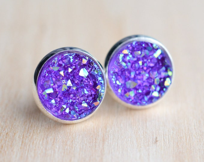 Purple Druzy Earrings - Lavender Druzy Earrings - Sparkly Druzy Earrings - Druzy Post Earrings - Purple Earrings - Bridesmaids Gifts