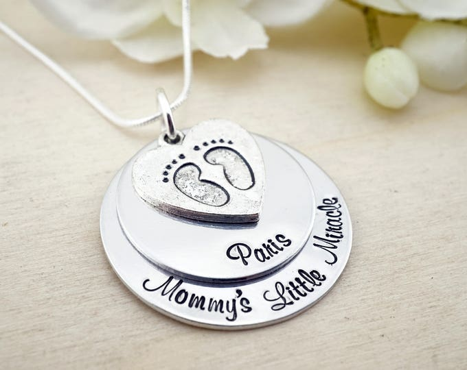 Hand Stamped Mommys Little Miracle baby footprint necklace: custom name birthdate new baby necklace