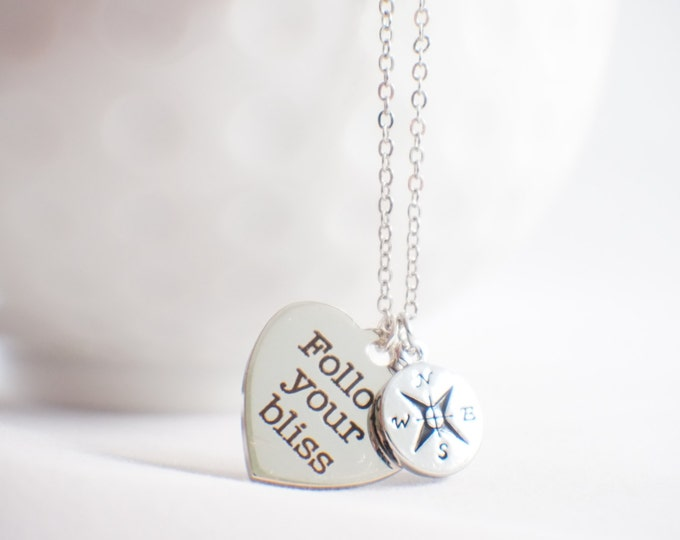Follow your Bliss necklace - bliss jewelry - compass jewelry - true north jewelry