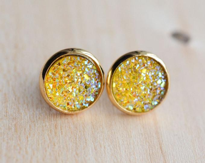 Yellow Druzy Earrings - Sunshine Druzy Earrings - Orange Druzy Earrings - Druzy Post Earrings - Bridesmaids Gifts - Yellow Earrings