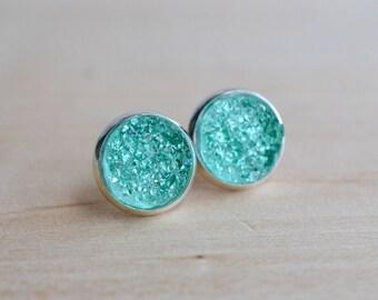 Turquoise Druzy Earrings - Aqua Druzy Earrings - Mint Druzy Earrings - Turquoise earrings - Pastel druzy earrings - Galactic earrings