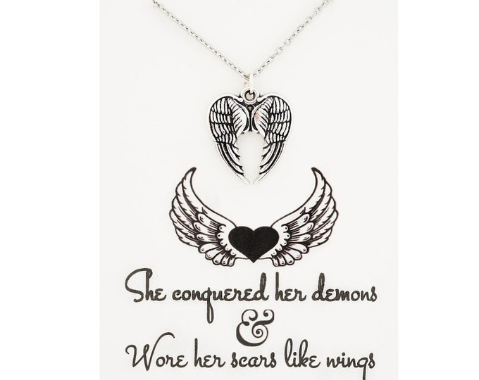 She concquered her demons and wore her scars like wings - inspirational jewelry, semicolon jewelry, angel wing necklace - angel wing jewelry