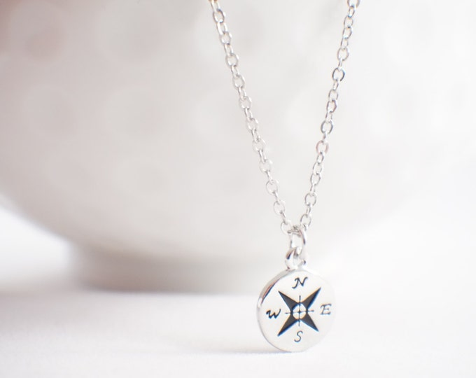 Tiny Compass necklace - journey necklace - compass jewelry -
